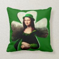 St Patrick's Day - Lucky Mona Lisa Throw Pillows