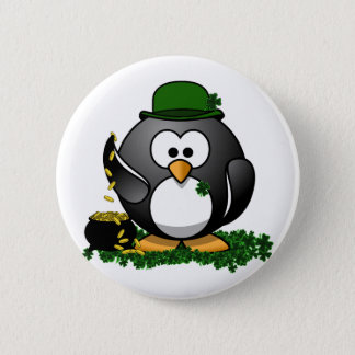 St. Patrick's Day Lucky Penguin with Pot Of Gold Pinback Button