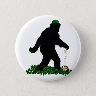 St Patrick's Day Lucky Sasquatch Button