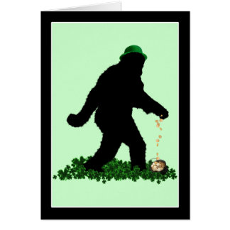 St Patrick's Day Lucky Sasquatch Greeting Card