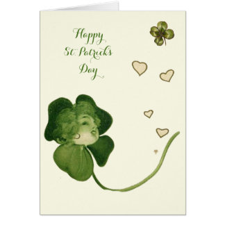 ST PATRICK'S DAY LUCKY SHAMROCK LADIES WITH HEARTS GREETING CARD