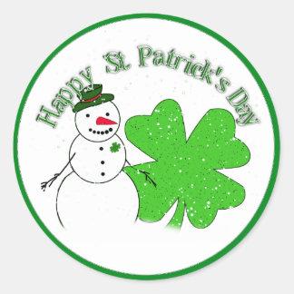 St Patrick's Day Lucky Snowman Classic Round Sticker