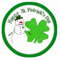 St Patrick's Day Lucky Snowman Photo Sculpture