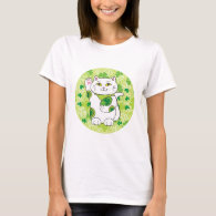 St. Patrick's Day Maneki Neko (Lucky Cat) T-Shirt