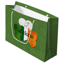 St. Patrick's Day Map of Ireland/Clover Large Gift Bag