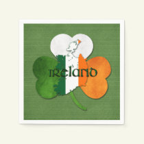 St. Patrick's Day Map of Ireland/Clover Paper Napkin
