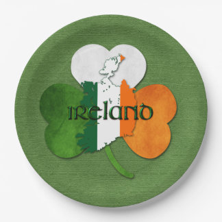 St. Patrick's Day Map of Ireland/Clover Paper Plate