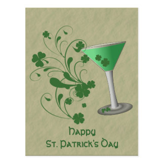 St Patrick's Day Martini Post Card