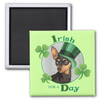 St. Patrick's Day Miniature Pinscher 2 Inch Square Magnet