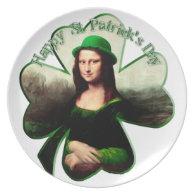 St Patrick's Day Mona Lisa Shamrock Dinner Plates