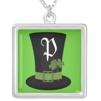 St. Patricks day Monogram Sterling Silver Necklace