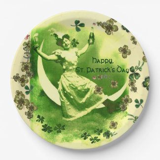 ST PATRICK'S DAY MOON LADY,IRISH BEER ,SHAMROCKS PAPER PLATE