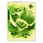 ST PATRICK'S  DAY MOON LADY WITH SHAMROCKS GREETING CARD