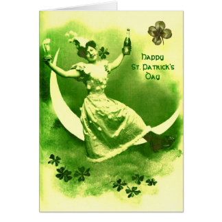 ST PATRICK'S  DAY MOON LADY WITH SHAMROCKS CARD