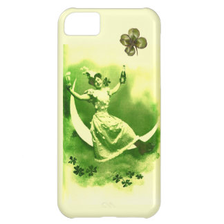 ST PATRICK'S  DAY MOON LADY WITH SHAMROCKS CASE FOR iPhone 5C