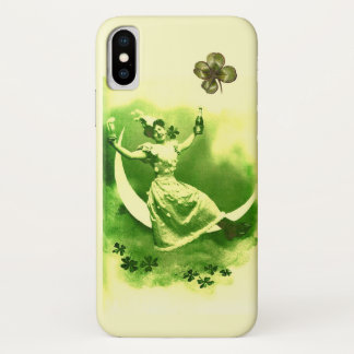 ST PATRICK'S  DAY MOON LADY WITH SHAMROCKS iPhone X CASE