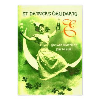 ST.PATRICK'S DAY MOON LADY WITH SHAMROCKS MONOGRAM 5X7 PAPER INVITATION CARD