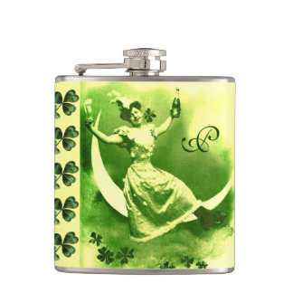 ST PATRICK'S DAY MOON LADY WITH SHAMROCKS Monogram Hip Flask