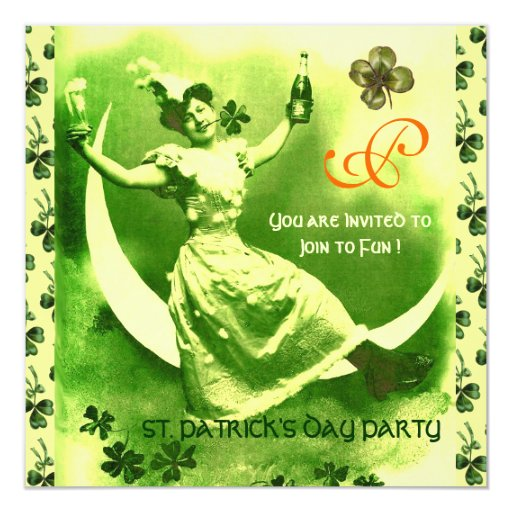 ST.PATRICK'S DAY MOON LADY WITH SHAMROCKS MONOGRAM 5.25X5.25 SQUARE PAPER INVITATION CARD