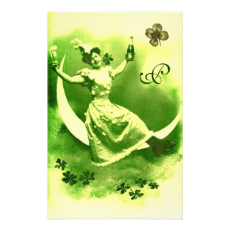ST PATRICK'S DAY MOON LADY WITH SHAMROCKS MONOGRAM STATIONERY