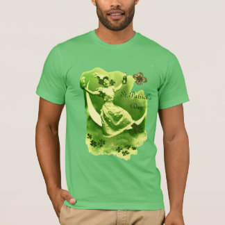 ST PATRICK'S DAY MOON LADY WITH SHAMROCKS MONOGRAM T-Shirt