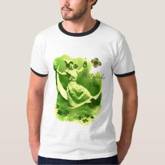 ST PATRICK'S DAY MOON LADY WITH SHAMROCKS MONOGRAM T-Shirt