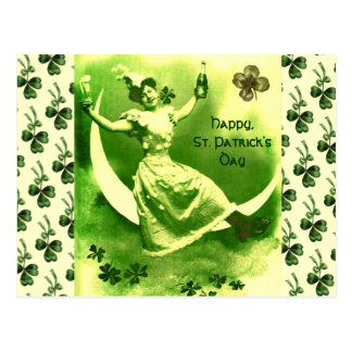 ST PATRICK'S  DAY MOON LADY WITH SHAMROCKS POSTCARD