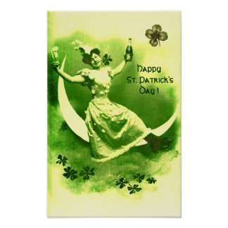 ST PATRICK'S DAY MOON LADY WITH SHAMROCKS POSTER