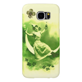 ST PATRICK'S  DAY MOON LADY WITH SHAMROCKS SAMSUNG GALAXY S6 CASE