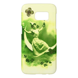 ST PATRICK'S  DAY MOON LADY WITH SHAMROCKS SAMSUNG GALAXY S7 CASE