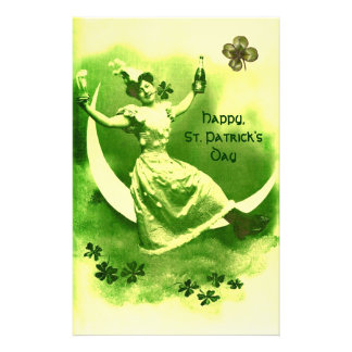 ST PATRICK'S DAY MOON LADY WITH SHAMROCKS STATIONERY
