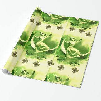 ST PATRICK'S DAY MOON LADY WITH SHAMROCKS WRAPPING PAPER