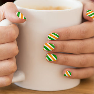 St Patricks Day nail extensions | Irish flag color Minx Nail Art