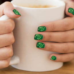 St Patricks Day nails with heart and lucky clovers Minx Nail Art