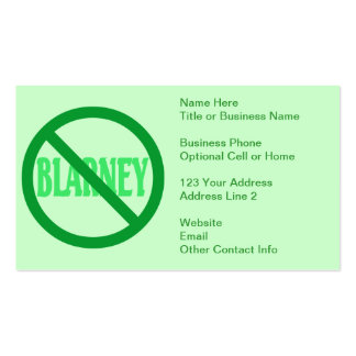 St. Patrick's Day No Blarney Allowed Business Card