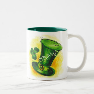 St-Patrick's Day O'BAMA Irish Shamrock and Hat Two-Tone Coffee Mug
