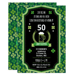 St. Patrick's Day Over The Hill Party Invitation