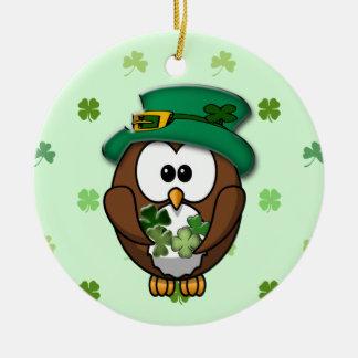 St. Patrick's Day owl Ceramic Ornament