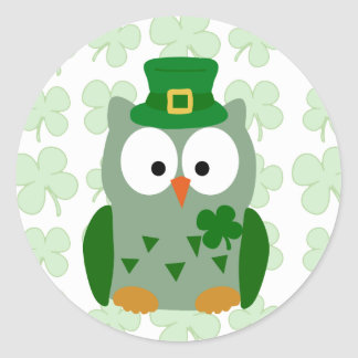 St. Patrick's Day Owl Classic Round Sticker