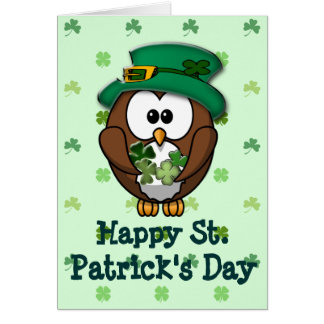 St. Patrick's Day owl Greeting Card