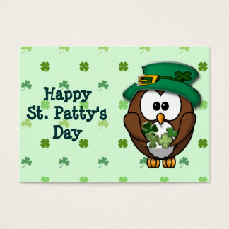 St. Patrick's Day owl Large Business Card