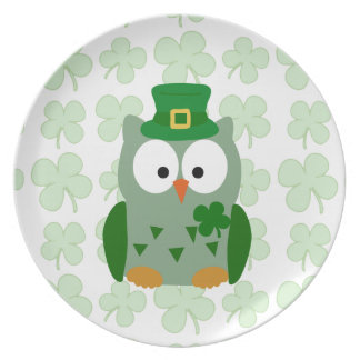 St. Patrick's Day Owl Party Plate