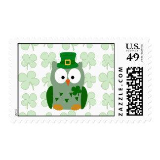 St. Patrick's Day Owl Postage Stamp