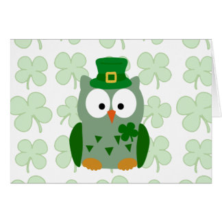 St. Patrick's Day Owl Stationery Note Card