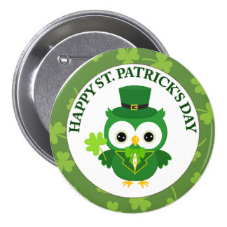 St. Patrick's Day Owl with Green Beer Pinback Button