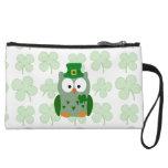 St. Patrick's Day Owl Wristlet Purse