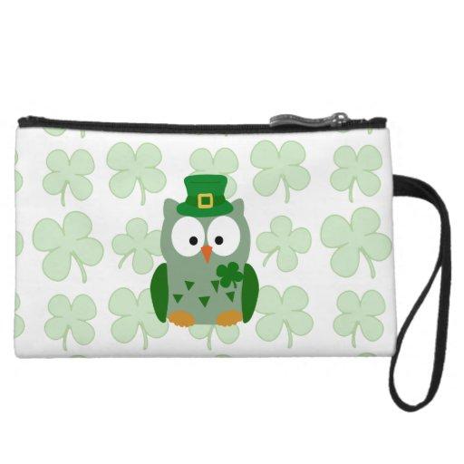 St. Patrick's Day Owl Wristlet Wallet
