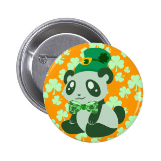 St. Patrick's Day Panda 2 Inch Round Button