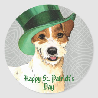 St. Patrick's Day Parson Russell Terrier Classic Round Sticker