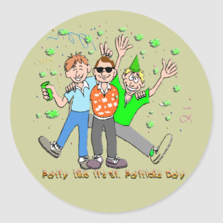 St Patrick's Day Party Classic Round Sticker